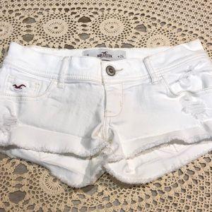 Hollister Distressed White Denim Jean Short